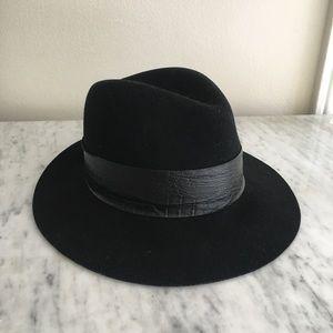 Janessa Leone black wool and leather fedora hat